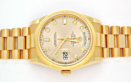 Foto 1, !!Ungetragen!! Rolex Daydate Gold Diam Topuhr Portofrei, U1910