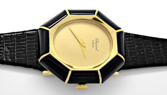 Foto 1, Chopard Damen-Armbanduhr Gold Onyx-Lünette Topuhr Neuz., U1928