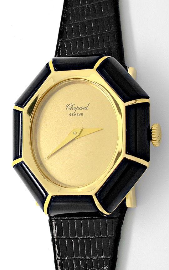 Foto 2, Chopard Damen Armbanduhr Gold Onyx Lünette Topuhr Neuz., U1928