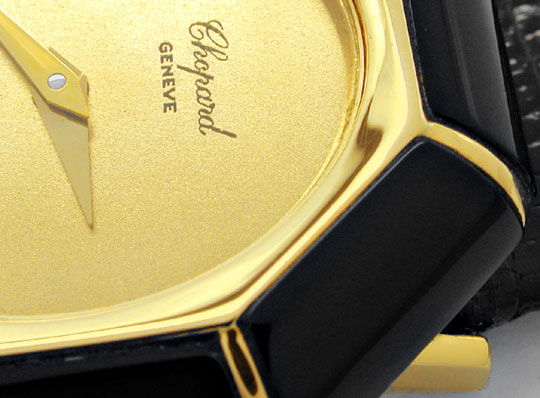 Foto 3, Chopard Damen Armbanduhr Gold Onyx Lünette Topuhr Neuz., U1928