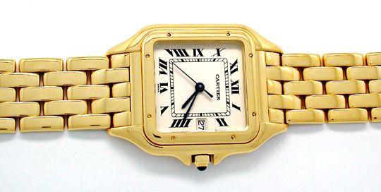 Foto 1, Cartier Panthere Herren Uhr Gelbgold Geprüft Neuzustand, U1930