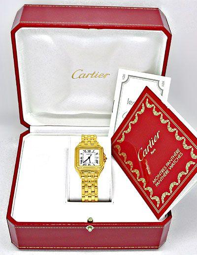 Foto 4, Cartier Panthere Herren Uhr Gelbgold Geprüft Neuzustand, U1930