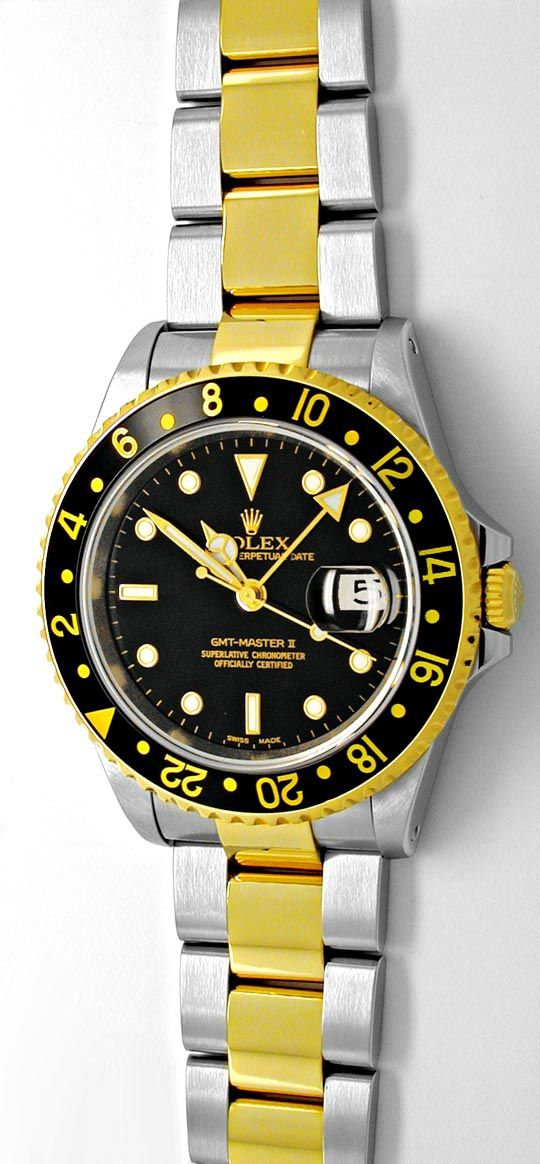 Foto 2, Rolex GMT-2 Armbanduhr Stahlgold Automatik Topuhr Neuz., U1932