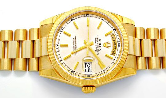 Foto 1, Rolex Day Date massivband! Gelbgold Geprüft Ungetragen!, U1935
