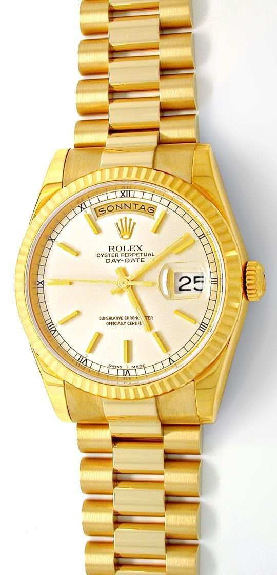Foto 2, Rolex Day Date massivband! Gelbgold Geprüft Ungetragen!, U1935