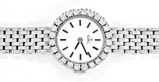 Foto 1, Damen Armbanduhr massiv Weissgold 1ct Brillanten Topuhr, U1943