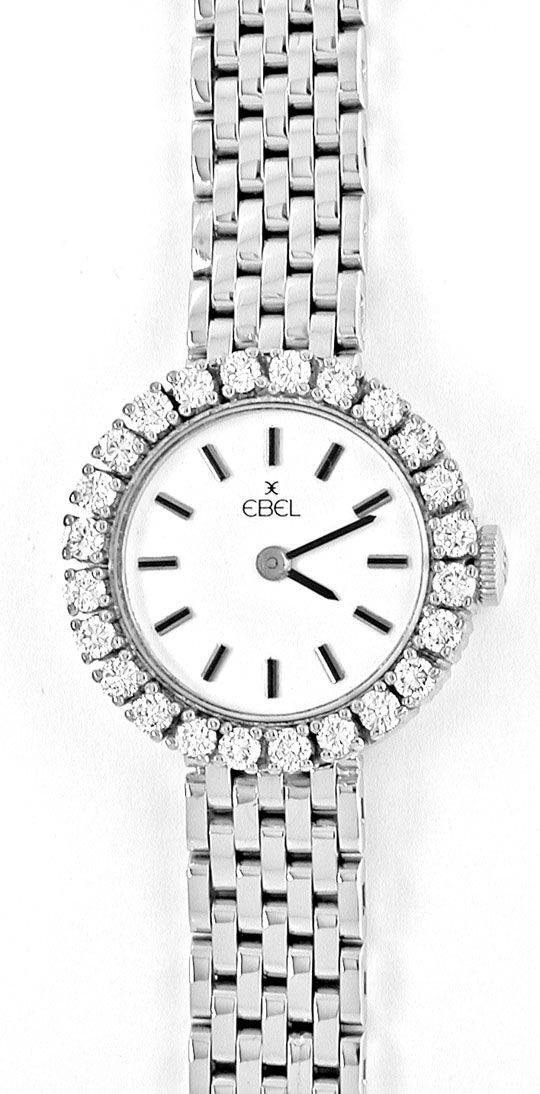 Foto 2, Damen Armbanduhr massiv Weissgold 1ct Brillanten Topuhr, U1943