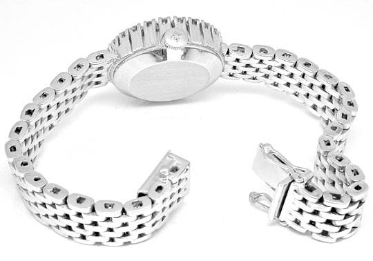 Foto 3, Damen Armbanduhr massiv Weissgold 1ct Brillanten Topuhr, U1943