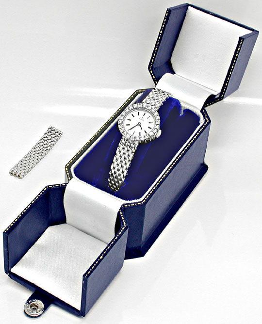 Foto 4, Damen Armbanduhr massiv Weissgold 1ct Brillanten Topuhr, U1943