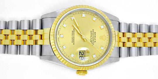 Foto 1, Rolex Datejust Herren Stahlgold Diamanten Topuhr Neuz.!, U1954