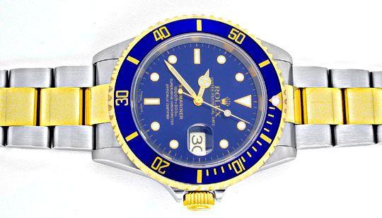 Foto 1, Rolex Submariner mit Datum Stahlgold Blau Topuhr Neuz.!, U1957