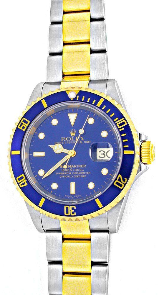 Foto 2, Rolex Submariner mit Datum Stahlgold Blau Topuhr Neuz.!, U1957
