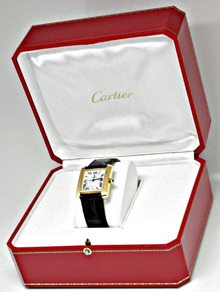 Foto 5, Ungetragene!! Cartier Tank Francaise Herren Gold Topuhr, U1959