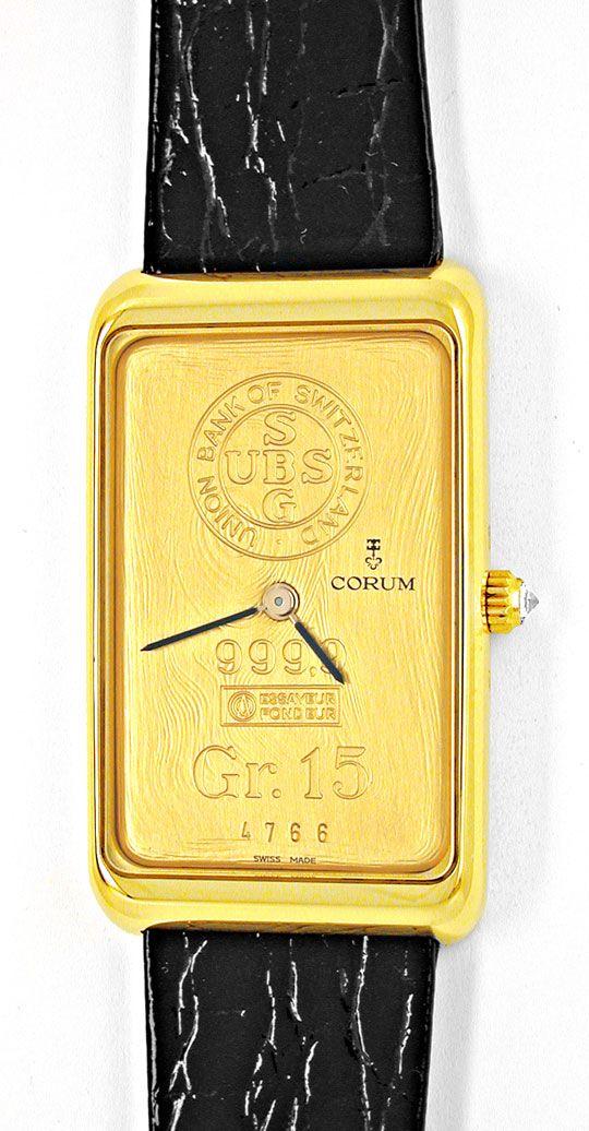 Foto 2, Corum 15-Gramm-Goldbarren Gelbgold Topuhr Ungetragen!!!, U1960