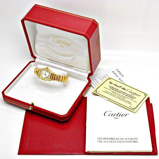 Foto 5, Cartier Tortue Casque D Or Diamanten Rubine, Da Geprüft, U1984
