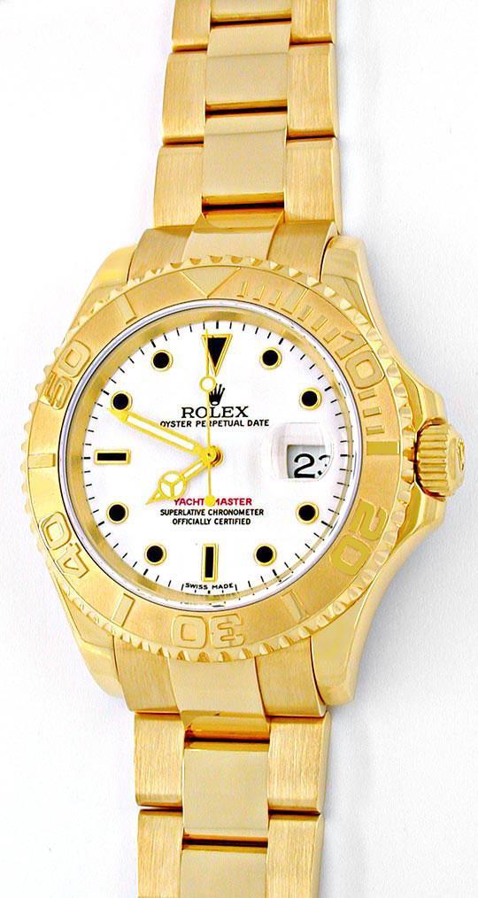 Foto 2, Rolex Hr Yachtmaster Gold Oysterlock Geprüft Ungetragen, U1985