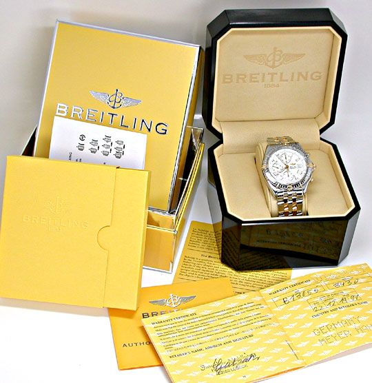 Foto 5, Breitling Crosswind Pilotband Stahl-Gold! Topuhr Neuz.!, U1988
