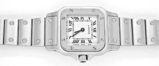 Foto 1, Cartier Santos Damen Uhr Edelstahl, Quarz Topuhr Neuz.!, U1994