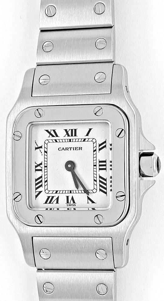 Foto 2, Cartier Santos Damen Uhr Edelstahl, Quarz Topuhr Neuz.!, U1994