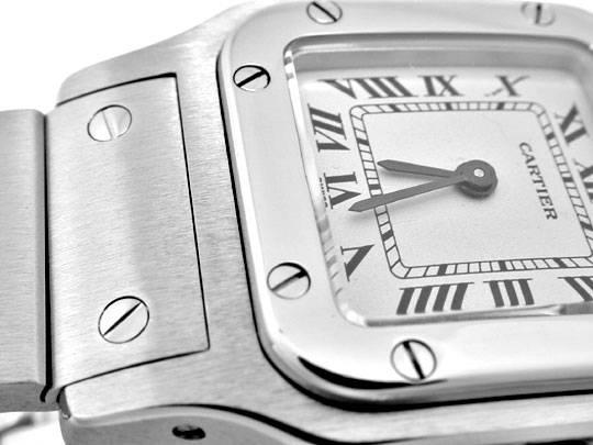 Foto 3, Cartier Santos Damen Uhr Edelstahl, Quarz Topuhr Neuz.!, U1994