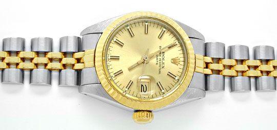 Foto 1, Rolex Date Damen Armbanduhr Stahl Gold Automatik Topuhr, U1999