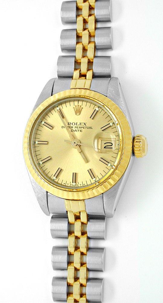 Foto 2, Rolex Date Damen Armbanduhr Stahl Gold Automatik Topuhr, U1999