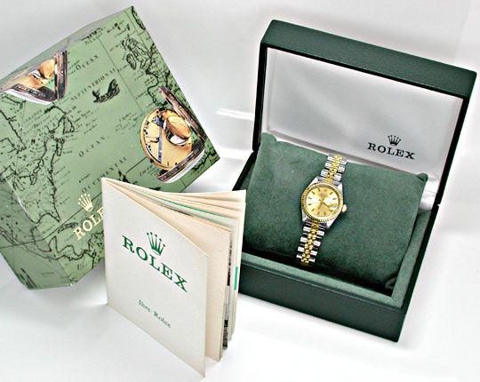 Foto 4, Rolex Date Damen Armbanduhr Stahl Gold Automatik Topuhr, U1999