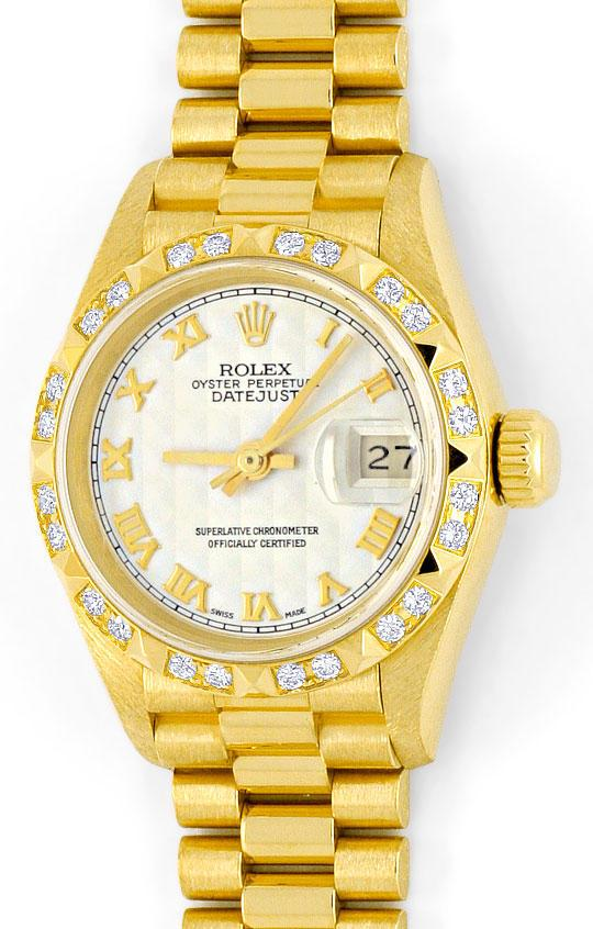 Foto 2, Rolex Lady-Datejust Gelbgold, Pyramiden-Diamant-Lünette, U2007