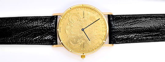 Foto 1, Corum 20 Dollar Usa Gold-Muenze Herrenuhr Diamant-Krone, U2012