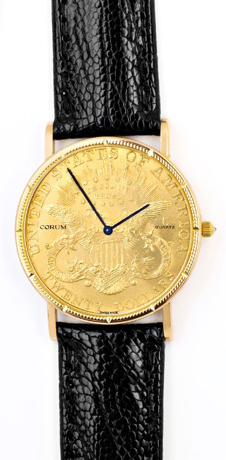 Foto 2, Corum 20 Dollar Usa Gold-Muenze Herrenuhr Diamant-Krone, U2012
