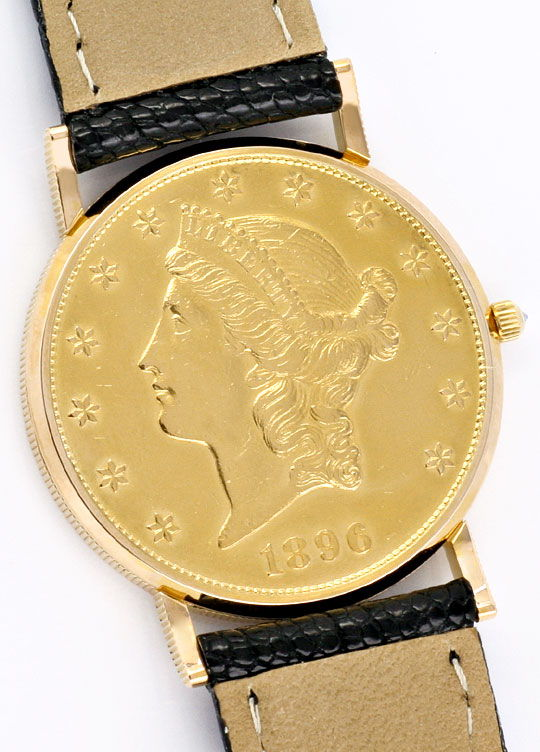 Foto 5, Corum 20 Dollar Usa Gold-Muenze Herrenuhr Diamant-Krone, U2012