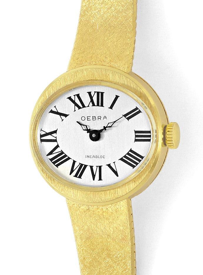 Foto 2, Oebra Damen Uhr in massiv 14K Gelbgold Milanaisearmband, U2024