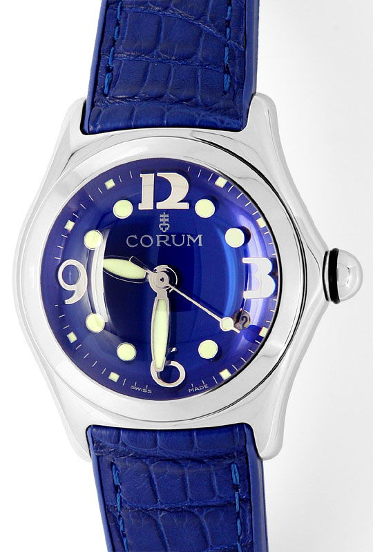 Foto 2, Bubble Corum Medium Uhr Königsblau Edelstahl Ungetragen, U2026