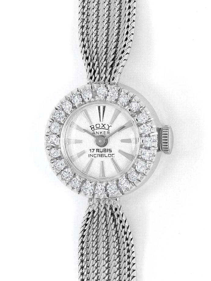 Foto 2, Roxy Damen Armbanduhr, mit Diamanten Lünette, Weissgold, U2027