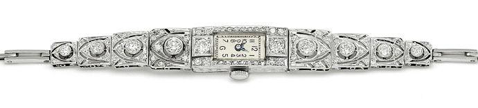 Foto 1, antike Platin Diamant Damen Armbanduhr 2,05ct Diamanten, U2029