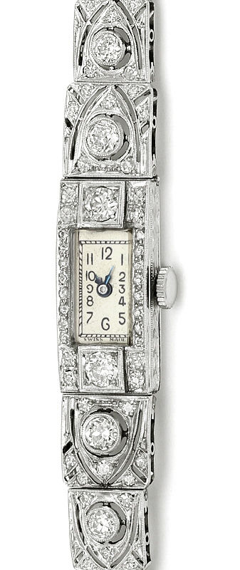 Foto 2, antike Platin Diamant Damen Armbanduhr 2,05ct Diamanten, U2029