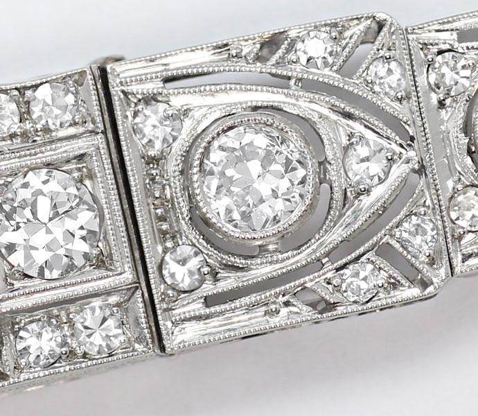 Foto 3, antike Platin Diamant Damen Armbanduhr 2,05ct Diamanten, U2029