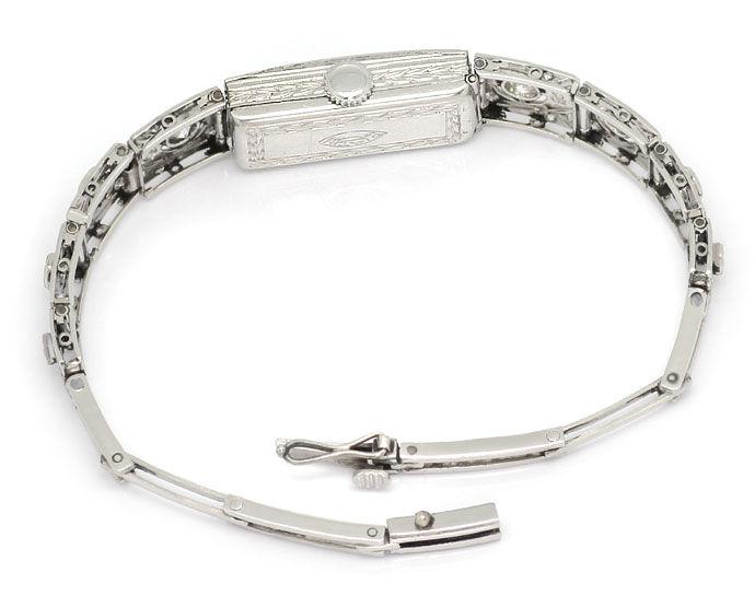 Foto 4, antike Platin Diamant Damen Armbanduhr 2,05ct Diamanten, U2029