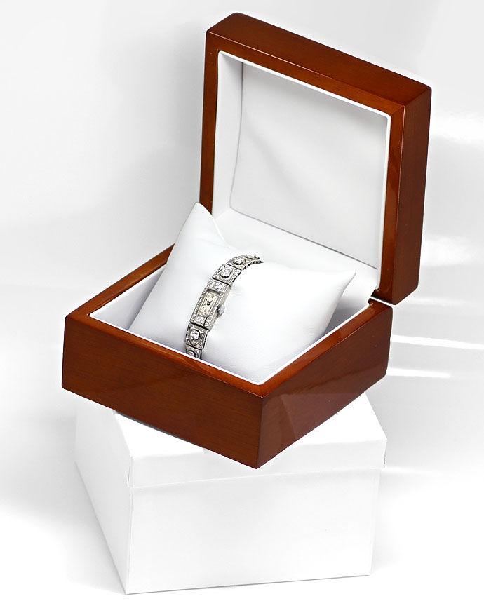 Foto 5, antike Platin Diamant Damen Armbanduhr 2,05ct Diamanten, U2029