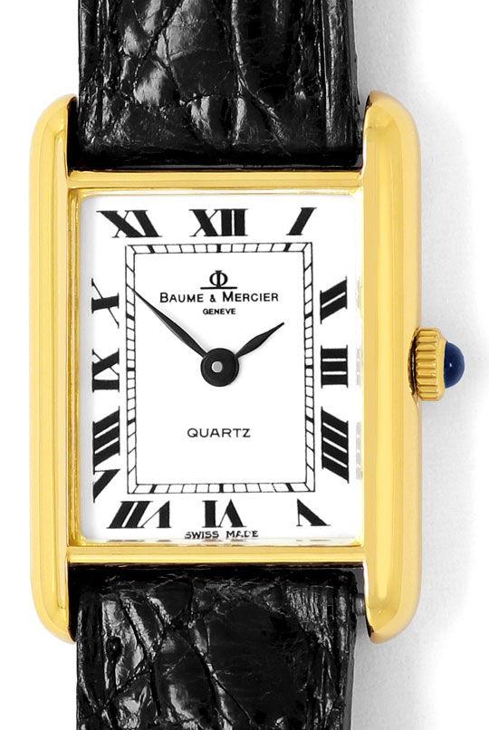 Foto 2, Baume und Mercier Damen Uhr, 18K Gelbgold Kroko Armband, U2031