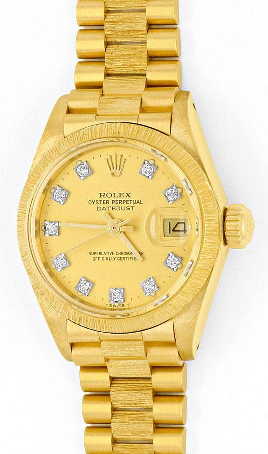 Foto 2, Rolex Datejust Damen Uhr Gelb Gold Diamanten Neuzustand, U2032