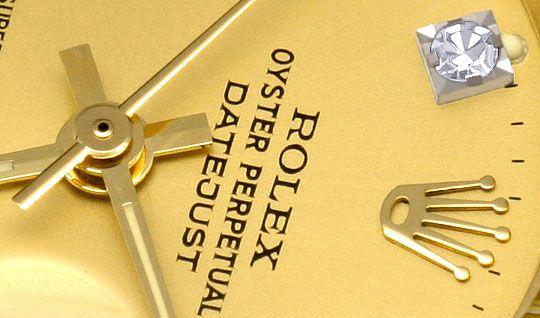 Foto 3, Rolex Datejust Damen-Uhr Gelb-Gold Diamanten Neuzustand, U2032