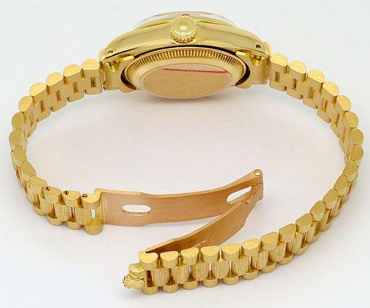 Foto 5, Rolex Datejust Damen-Uhr Gelb-Gold Diamanten Neuzustand, U2032