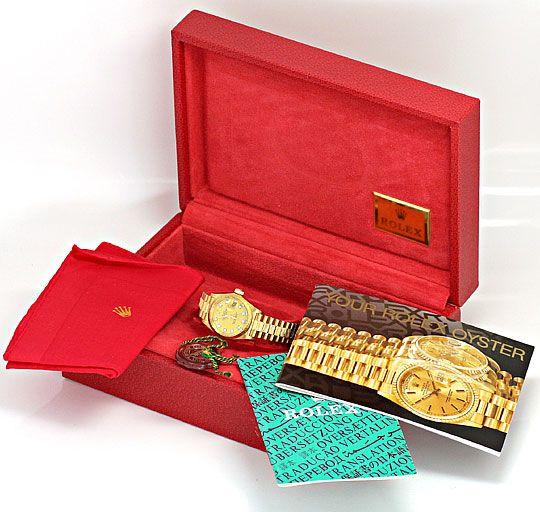 Foto 6, Rolex Datejust Damen Uhr Gelb Gold Diamanten Neuzustand, U2032