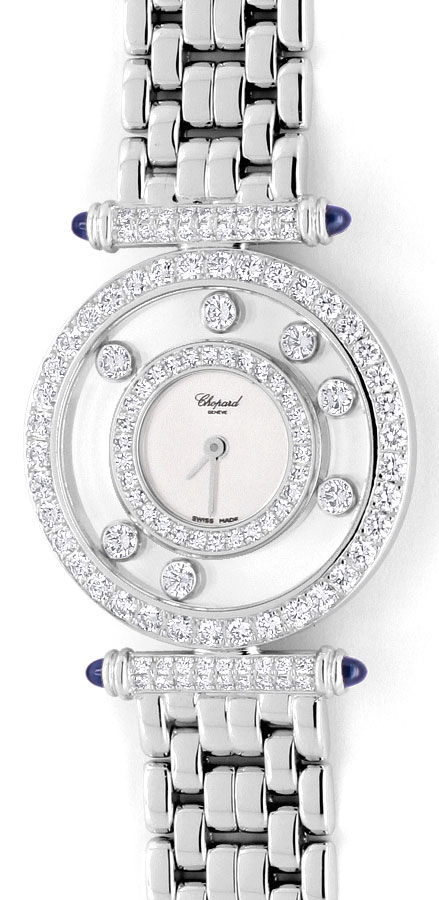 Foto 2 - Chopard Happy Diamonds Safire Weissgold Damenarmbanduhr, U2038