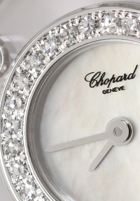 Foto 3, Chopard Happy Diamonds Safire Weissgold Damenarmbanduhr, U2038
