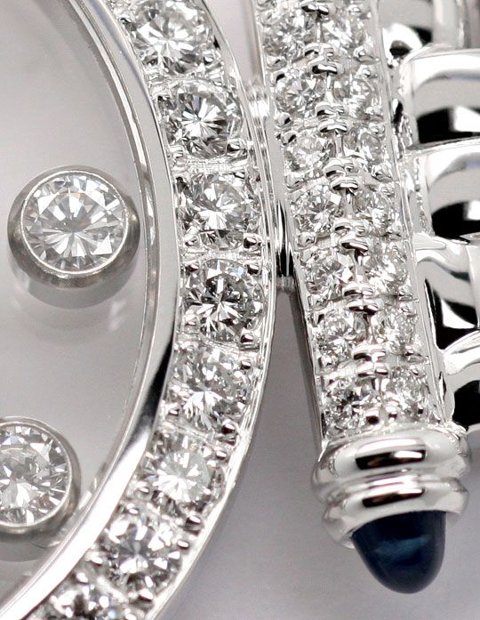 Foto 4, Chopard Happy Diamonds Safire Weissgold Damenarmbanduhr, U2038