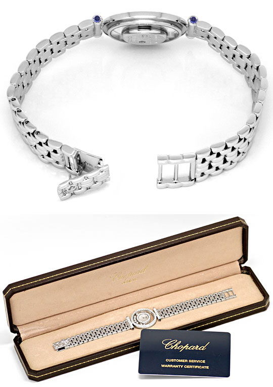 Foto 8 - Chopard Happy Diamonds Safire Weissgold Damenarmbanduhr, U2038