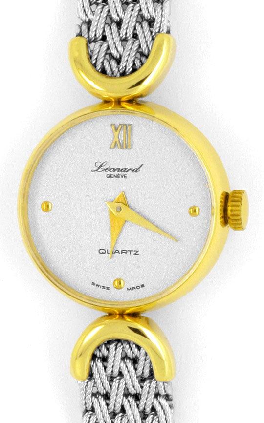 Foto 2, Leonard Damen-Armbanduhr, Gelbgold Weissgold Neuzustand, U2046