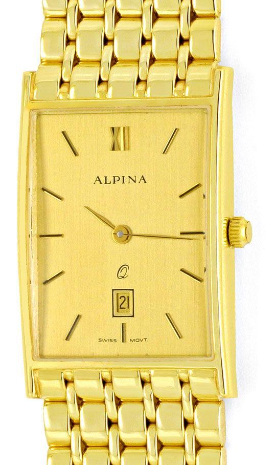 Foto 2, Alpina Herrenarmbanduhr Classic 14K Gelbgold Neuzustand, U2047